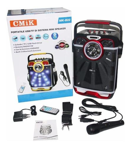 caixa amplificada led portatil mk-b22 mp3 fm usb sd