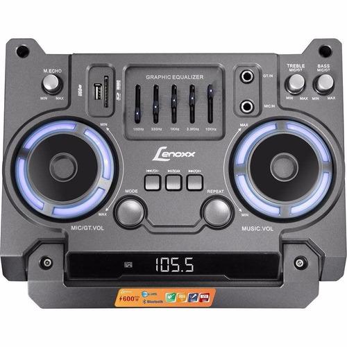 caixa amplificada lenoxx 700w bluetooth usb sd rádio