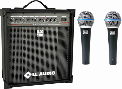 caixa amplificada ll lx100+ 2 microfone jwl ba-58 como shure