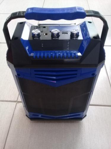 caixa amplificada portátil karaokê bateria microfone bivolt