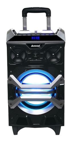 caixa amplificada usb rodinhas bivolt rádio fm bluetooth sd