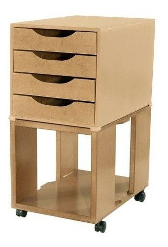 caixa arquivo easy box mdf c/ base e 4 gav mdf natural souza