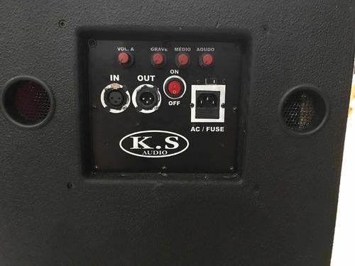 caixa ativa 2 alto falantes de 15 com driver ti + passiva