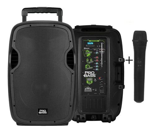 caixa ativa ampl. probass c/ bateria+ microfone pot.800w