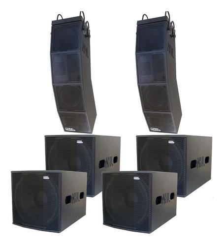 caixa ativa line array estereo 6 caixas pa amplificado 7200w kit sonorização completo processado dois lados ativos top