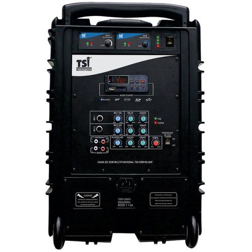 caixa ativa portátil c/ bateria/bt/usb/2 mic csm100uhf tsi