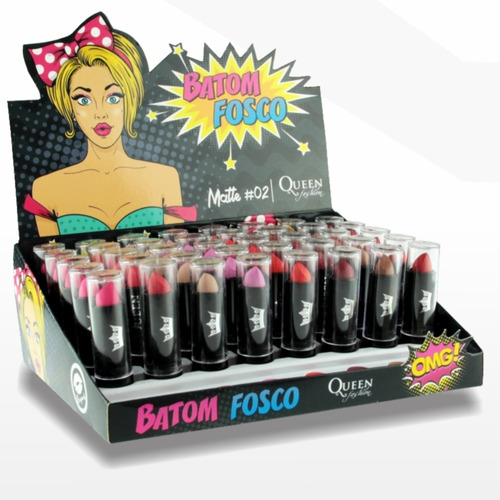 caixa batom queen fosco caixa c/ 40 lançamento + 10 amostras