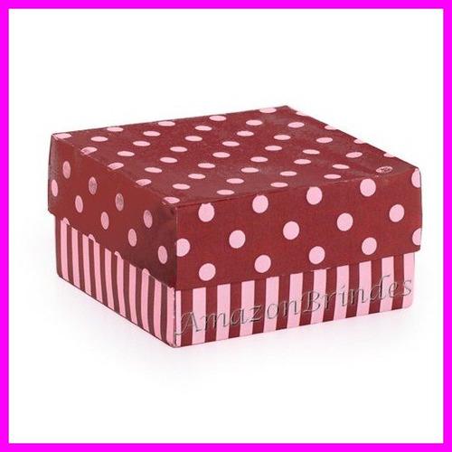 caixa bem casado quadrada rosa/marrom 6,5x6,5x6,5 (5048)