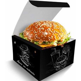 Caixa Box Embalagem Para Hambúrguer Artesanal Preto 100un