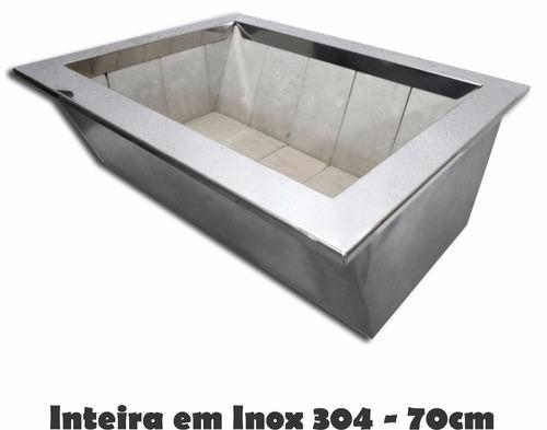 caixa braseiro em inox - churrasqueira sem alvenaria 70cm