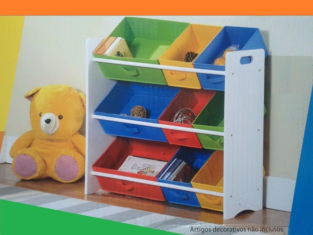 Caixa Brinquedos Guardar Organizar Quarto Crian A Beb Cores R  ~ Organizando O Quarto De Brinquedos