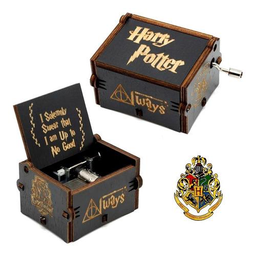 caixa caixinha de musica harry potter manivela - preta2
