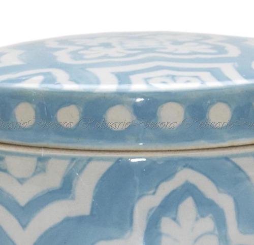 caixa caixinha de porcelana redonda pintado à mão em azul