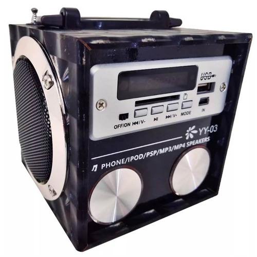 caixa caixinha de som portátil yy03 mp3 pen drive cartão aux