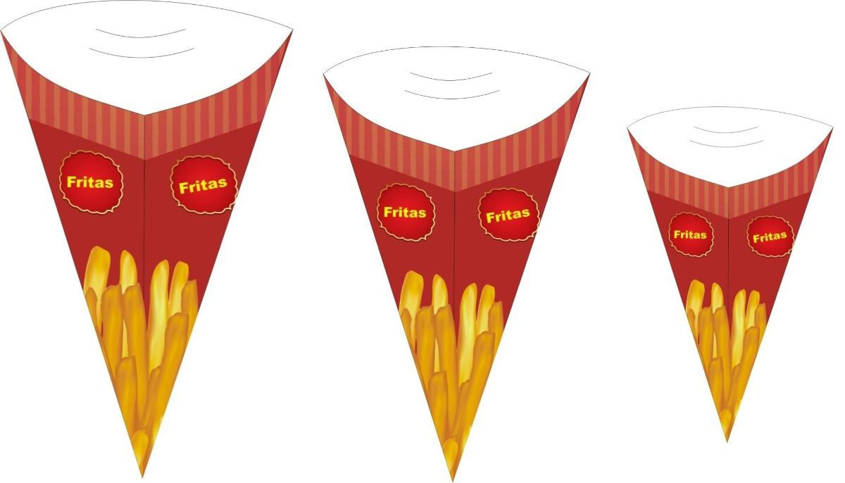 caixa caixinhas embalagem cone batata fritas 100un cada pmg r 156