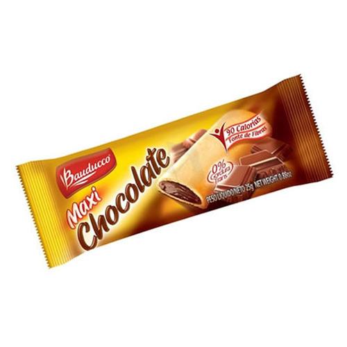caixa com 20 unidades barrinha maxi chocolate bauducco