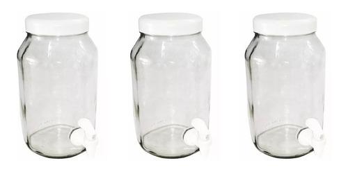 caixa com 3 potes de vidro com torneira