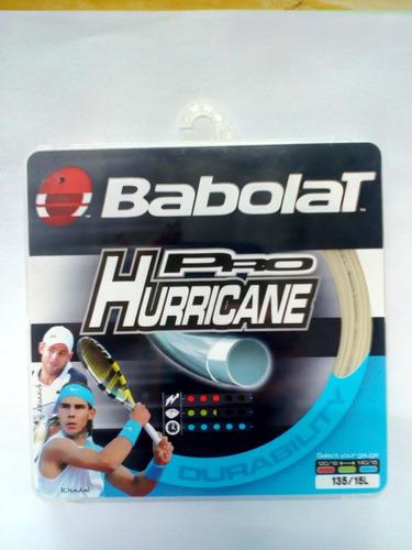 caixa com 4 sets corda babolat pro hurricane 1,35mm