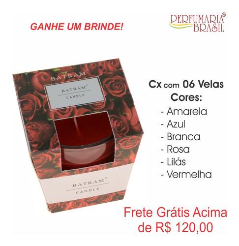 caixa com 6 velas aromaticas - vidro - batram candle