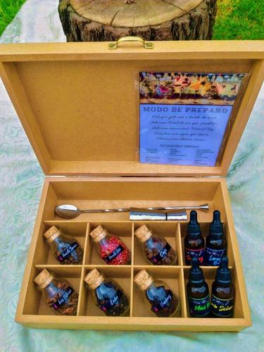 caixa com especiarias para gin tônica artesanal em madeira