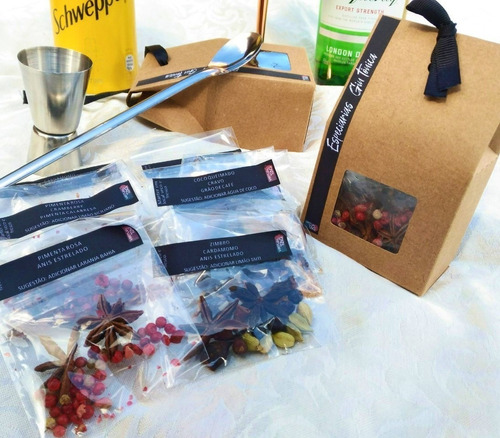 caixa com especiarias para gin tônica + dosador colher inox