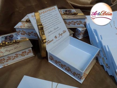caixa convite box padrinhos lembrança casamento 12x s/ juros