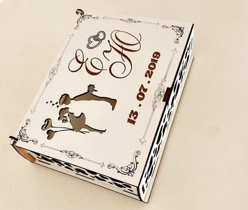 caixa convite de casamento branca mdf - 4 caixas