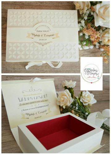 caixa convite e lembrança padrinhos casamento - 1 unidade