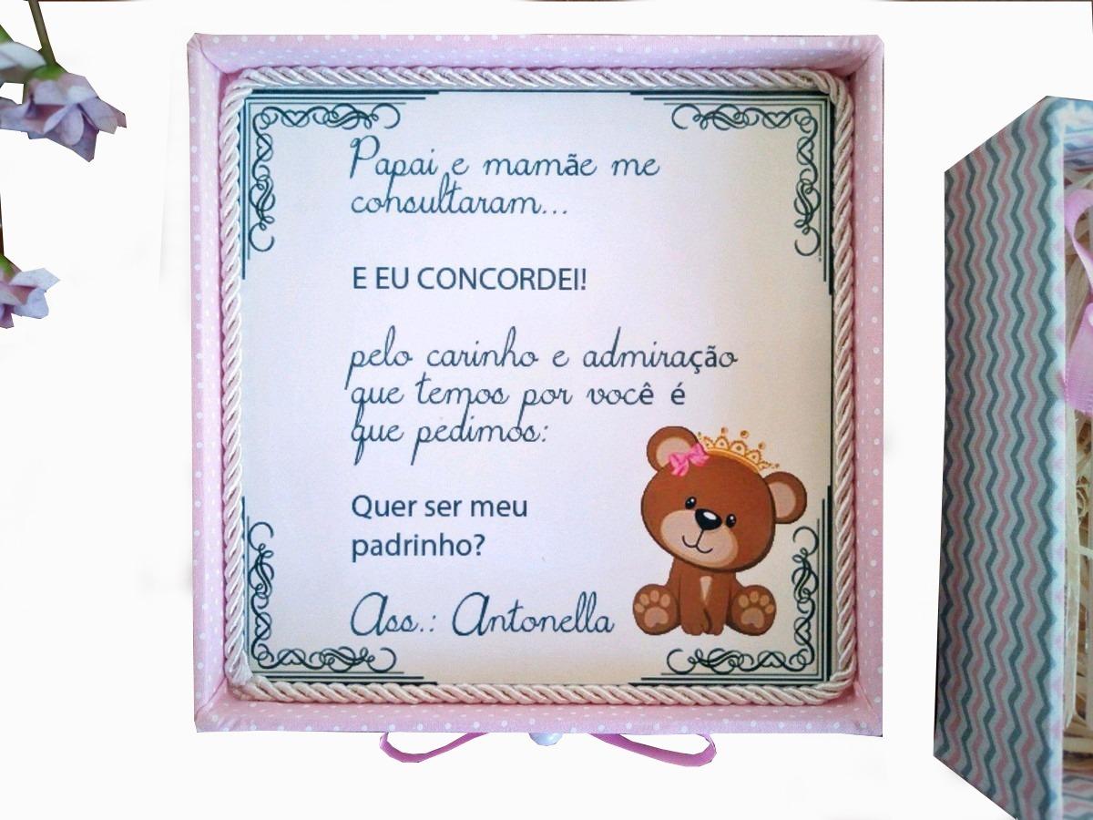 Caixa Convite Padrinhos Batizado Batismo Ursa Princesa R 11990