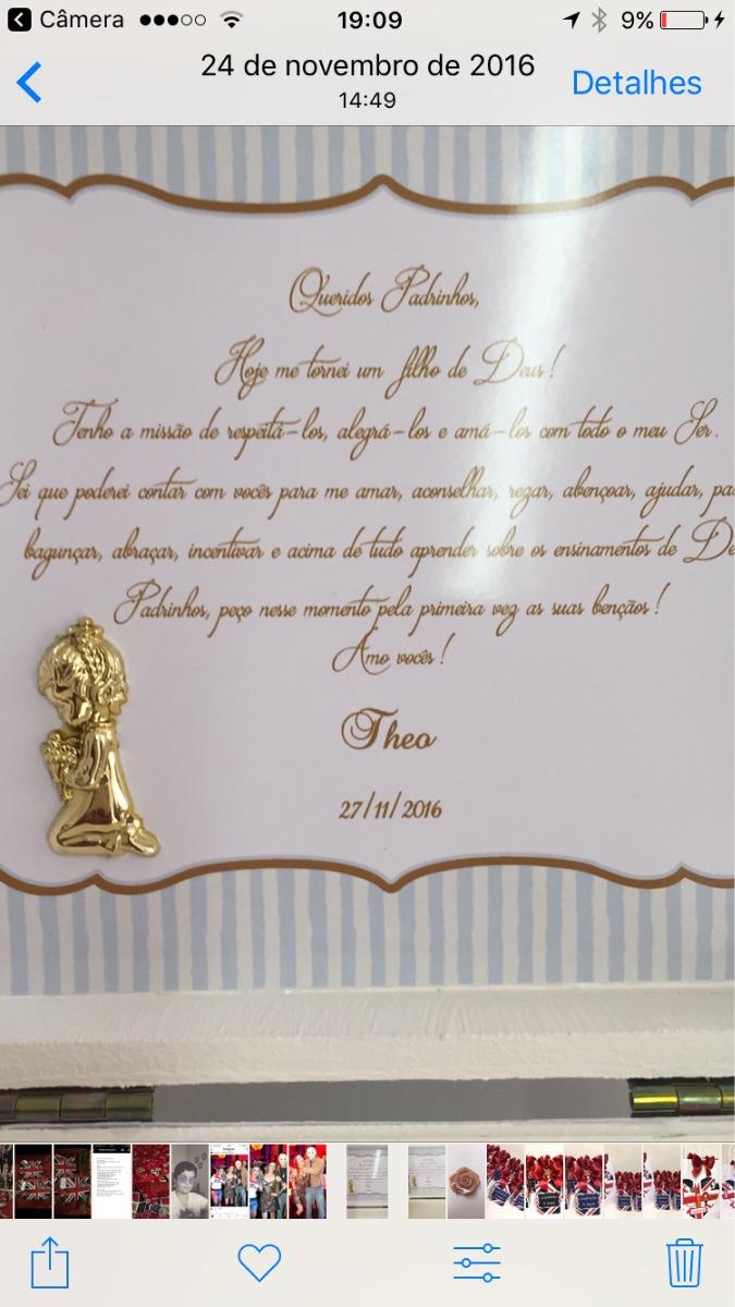 Caixa Convite Padrinhos Batizado Menino 1 Unidade