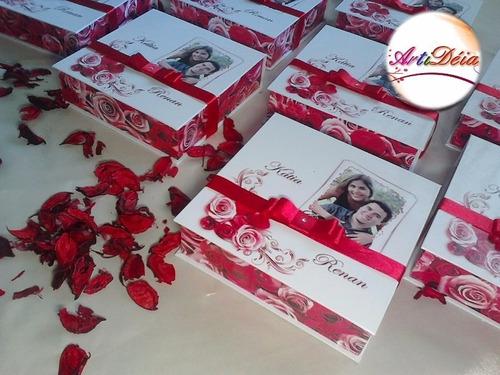 caixa convite padrinhos lembrança de casamento 12 x s/ juros