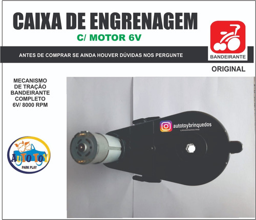 caixa de engrenagem com motor 6v/8000 rpm bandeirante