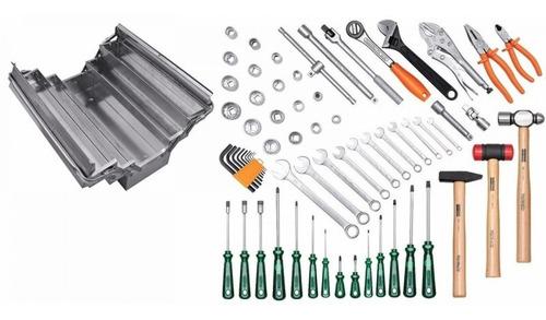 caixa de ferramentas sanfonada aço inox 65 peças ha