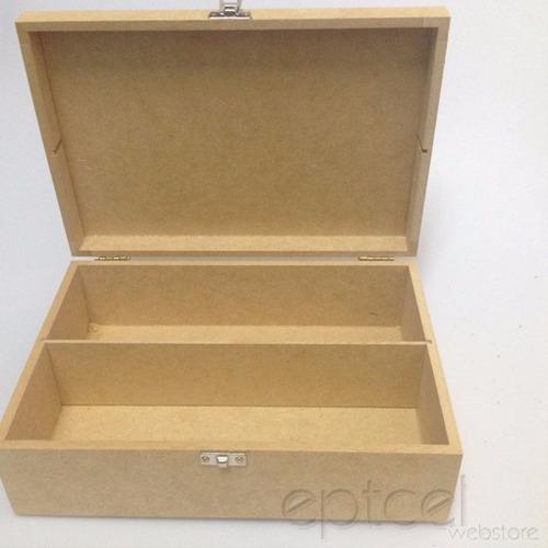 caixa de madeira mdf decoração com tampa divisória 582