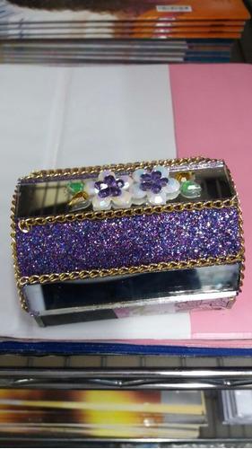 caixa de promessa em vidro feito a mao em vidro bau c gliter