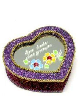 caixa de promessa espelhada coração
