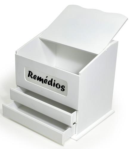 caixa de remedio 2 gaveta e vidro jateado - mdf