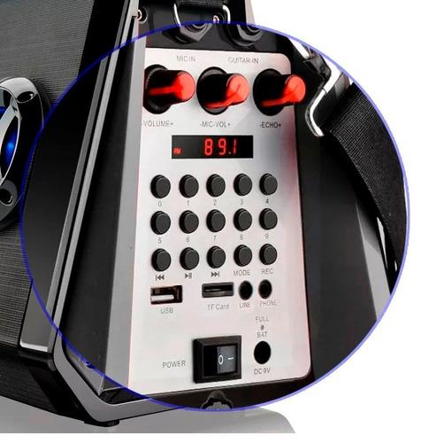 caixa de som amplificada 80w rms bluetooth microfone sd fm
