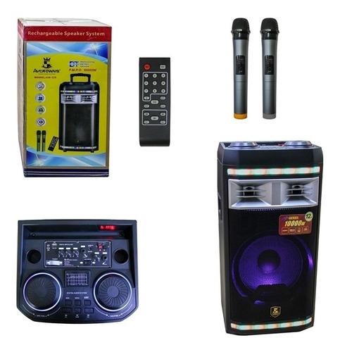 caixa de som amplificada bluetooth 1000w festa 2 microfones