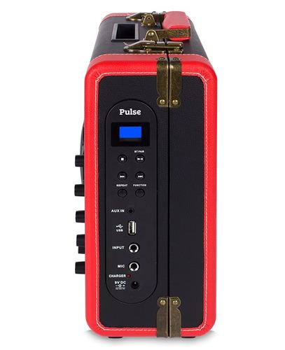 caixa de som amplificada retrô usb bluetooth microfone raveo