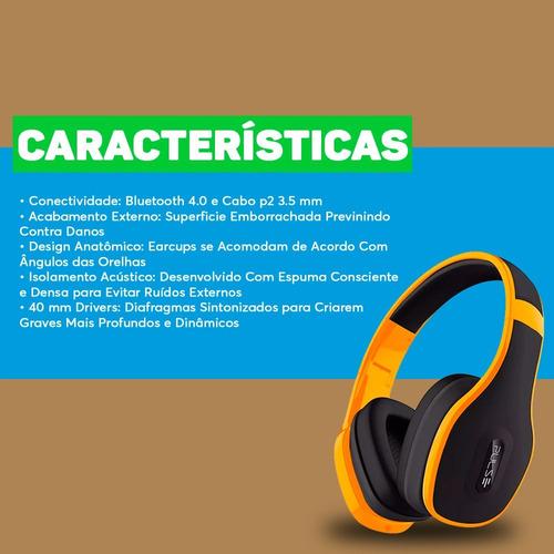 caixa de som amplificada usb bluetooth + fone ouvido amarelo