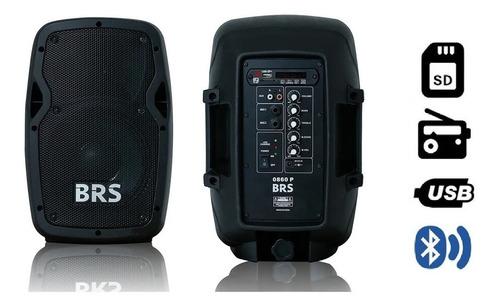 caixa de som ativa brs 0860p 8' 60w c/ bateria e bluetooth