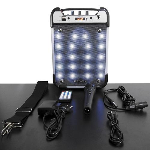 caixa de som bluetooth amplificada 25w + microfone mp3 usb