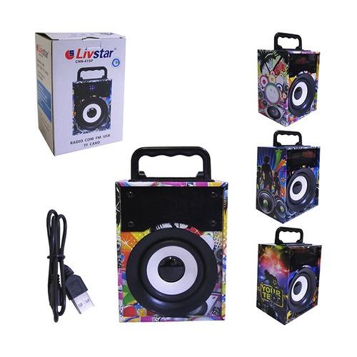 caixa de som bluetooth led festa usb sd radio fm livstar