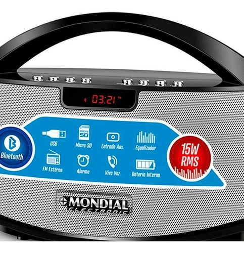 caixa de som bluetooth mondial sk-01 rádio fm 15w pendrive