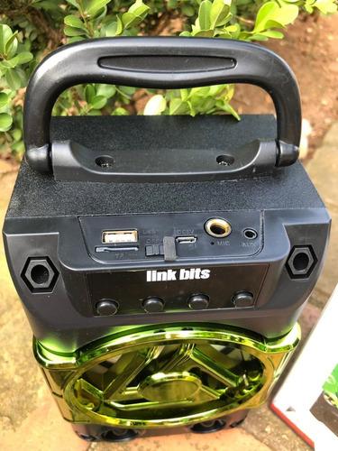 caixa de som bluetooth rádio fm função karaoke 5w kit 2 cxs
