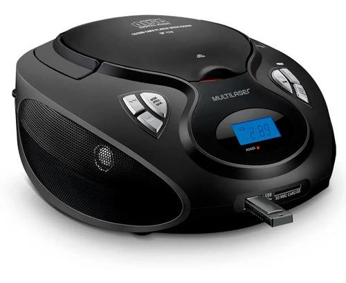 caixa de som boombox 20w rms cd/usb/sd/fm/aux preta - sp178