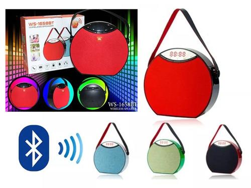 caixa de som c/ alça bluetooth usb fm mp3 led rádio bateria