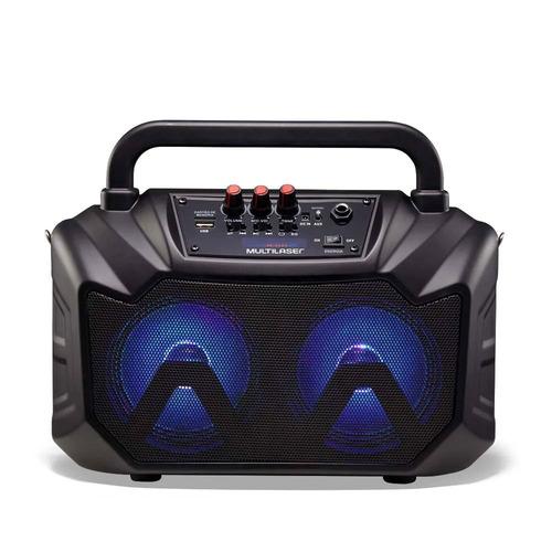 caixa de som double speaker portátil 80w rms luz de led