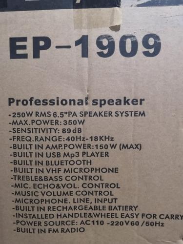 caixa de som ecopower 250 rms microfone sem fio rodinha